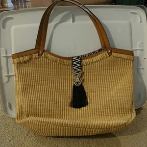Stella & Dot Bags - Stella And Dot Riveria Tote with Raffia Fringe